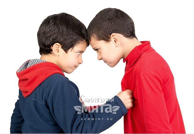 Два мальчика спорят друг с другом, фото