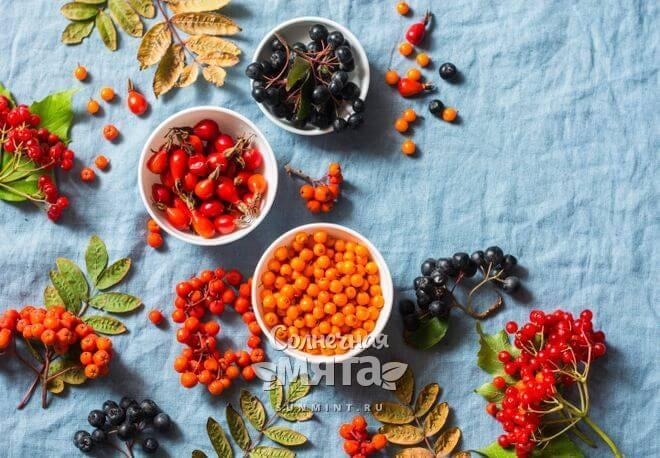 Ягоды и плоды с витамином C на столе, фото