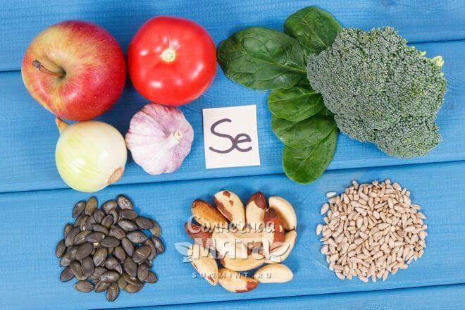 Продукты с селеном на столе, фото