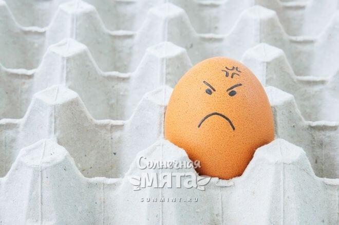 Куриное яйцо с забавной сердитой рожицей, фото