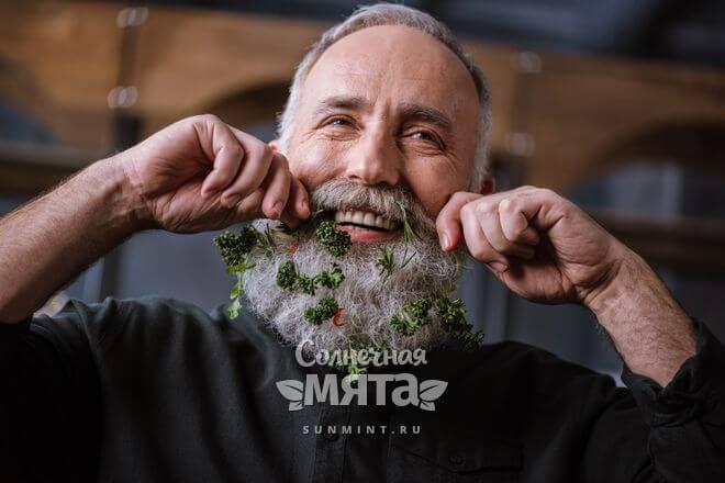 Улыбающийся дед закручивает петрушку в свою бороду, фото