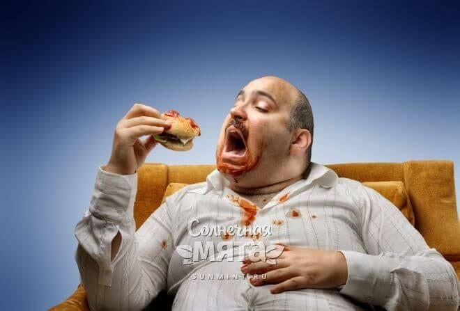 Толстый неопрятный мужчина есть гамбургер, фото