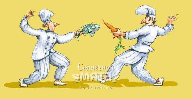 Два повара шуточно сражаются при помощи рыбы и моркови, рисунок
