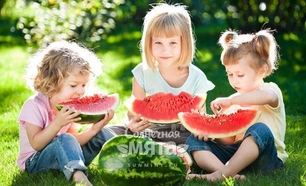 Три девочки едят арбуз на лужайке, фото