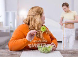 Полная девушка смотрит на свою стройную подругу, фото