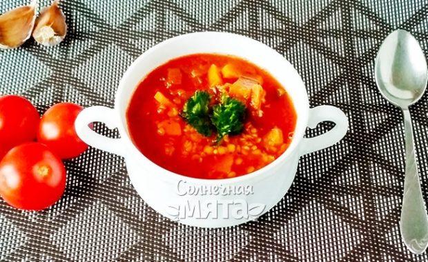 Белковый вегетарианский суп из красной чечевицы