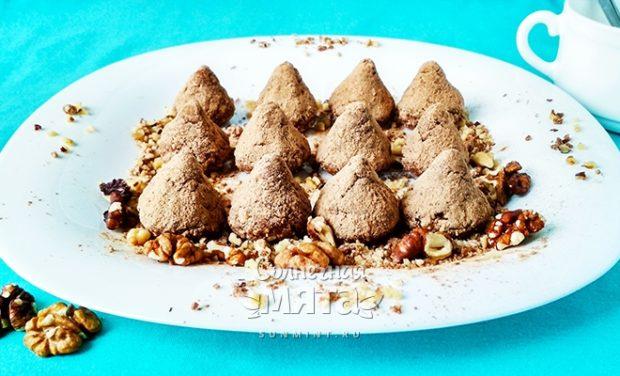 Шоколадно-сливочные трюфели с грецким орехом