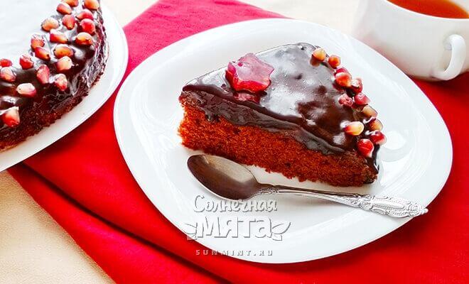 Веганский шоколадный торт с воздушным гранатовым муссом